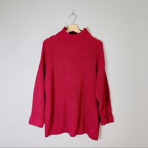 American Eagle Chunky Knit Oversized Fit Sweater Red Turtle Neck Small S XS